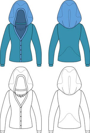 hooded: Template outline illustration of a blank hooded cardigan isolated on white background Illustration