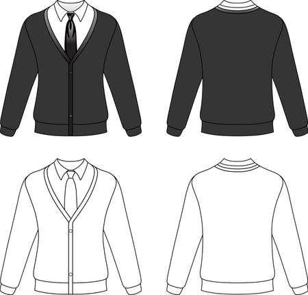 sueter: Ilustración de la plantilla esbozo de una chaqueta de punto en blanco con corbata aisladas sobre fondo blanco