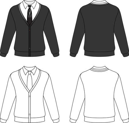 warm clothing: Template outline illustration of a blank cardigan with necktie isolated on white background