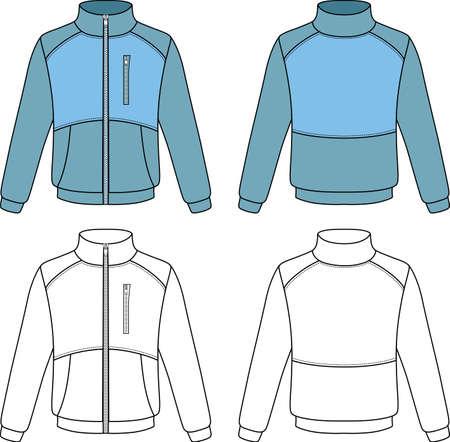 chaqueta: Esquema chaqueta deportiva ilustración vectorial aislados en fondo blanco Vectores