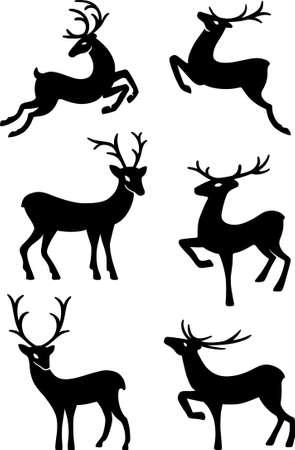 ciervo: Seis siluetas de ciervos aisladas sobre fondo blanco