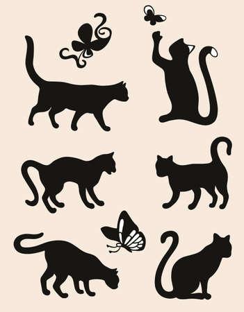 silueta de gato: Seis siluetas del gato aislado sobre fondo café con leche Vectores