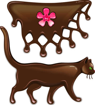 Chocolate marmalade flower decor and cat isolated on white background  Vector