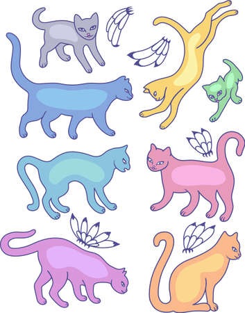 plasticity: Eight cat silhouettes and fly flowers isolated on white background