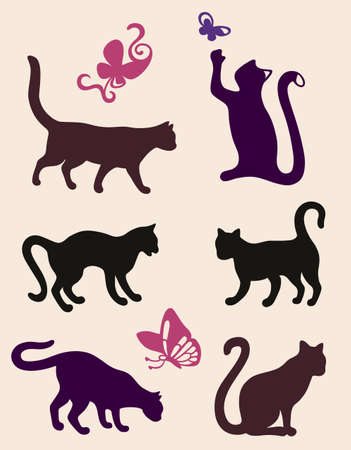 Six cat silhouettes isolated on coffee latte background  Vector