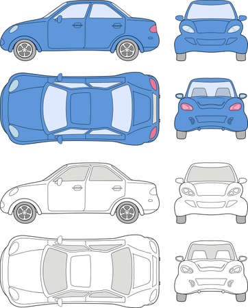 Personenauto (gekleurd en geschetste bovenkant, zijkant, achterkant, vooraanzicht), geïsoleerd op witte achtergrond Stock Illustratie