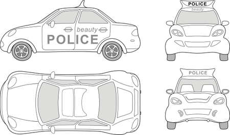 Beauty police car (outlined top, side, back, front view), isolated on white background