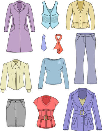 Top manager woman clothing colored set isolated on white  Vector