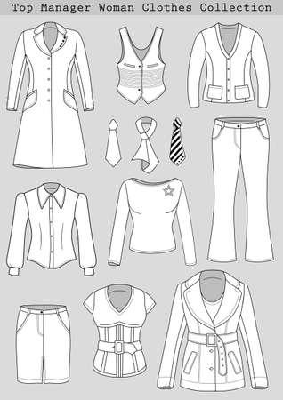 white blouse: Principales Ropa mujer Administrador de conjuntos aislados sobre fondo gris Vectores