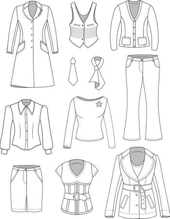spring coat: Top manager woman clothing set isolated on white  Illustration