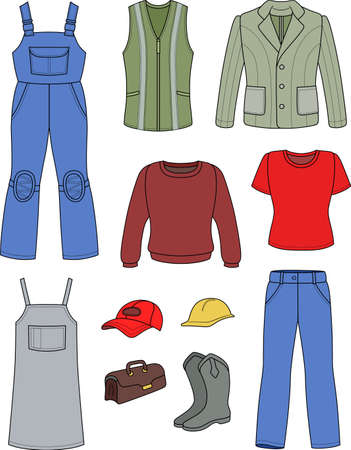 Worker, plumber man, woman colored fashion set isolated on white background Vector