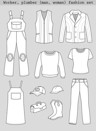 Worker, plumber man, woman fashion set isolated on grey background Vector
