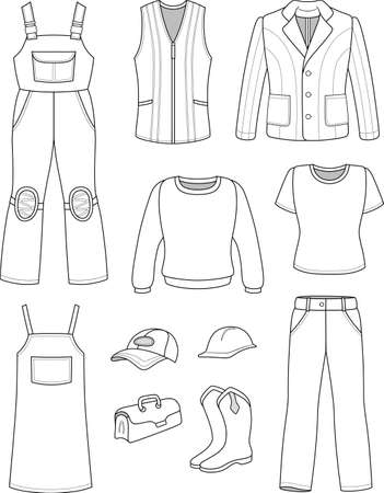 outline women: Worker, plumber man, woman fashion set isolated on white background Illustration