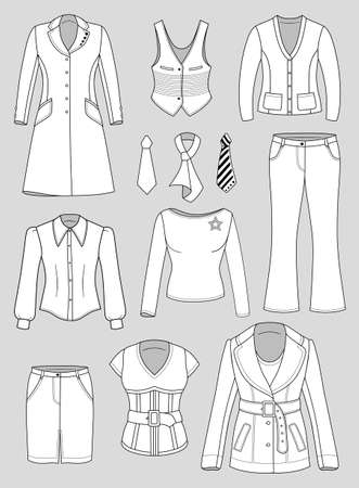 Top manager woman clothing set isolated on grey background Stock Vector - 16921424