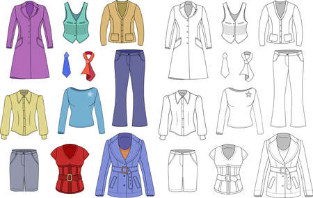 Top manager woman colored outlined clothing set isolated on white  Vector