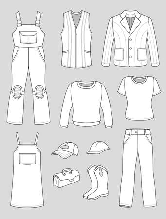 Worker, plumber man, woman fashion set isolated on grey background Stock Vector - 16921426