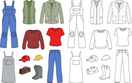overalls: Worker, plumber man, woman colored outlined fashion set isolated on white background