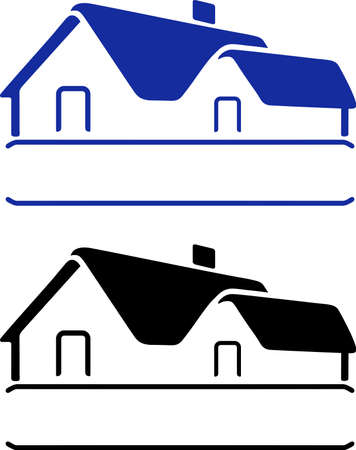 roof top: House sign isolated on white background Illustration