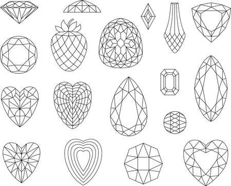 coeur diamant: Coupes de diamant isolé sur fond blanc