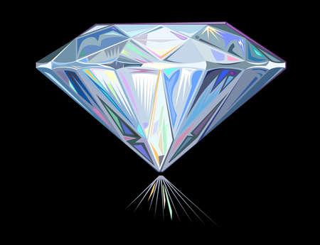 Diamant geïsoleerd op een zwarte achtergrond Stock Illustratie