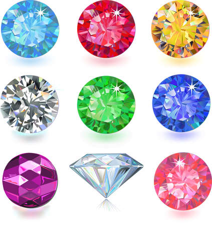 faceted: Set of colored gems isolated on white background  Illustration