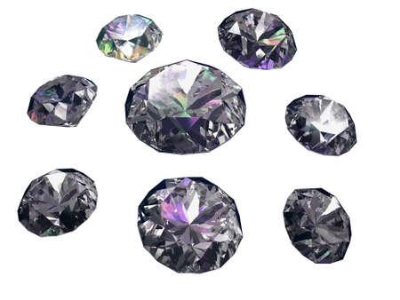 feng shui: Set of eight diamonds isolated on white background