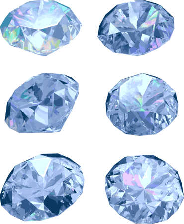 Set of six diamonds isolated on white background, vector illustration Vector