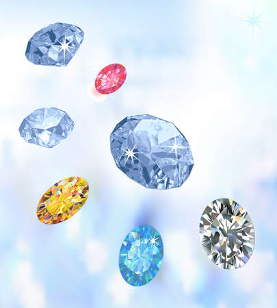Set of four colored gems isolated on dark blue background