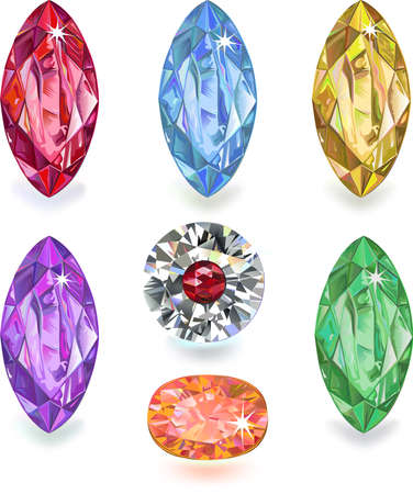 Set of colored gems isolated on white background  Stock Vector - 19088083