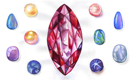Watercolor gems set on white background photo