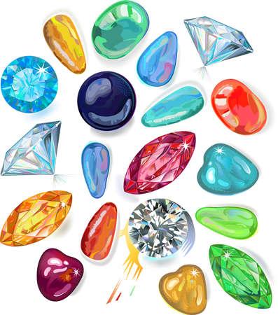 abundance: Abundance of colored gems isolated on white background  Illustration