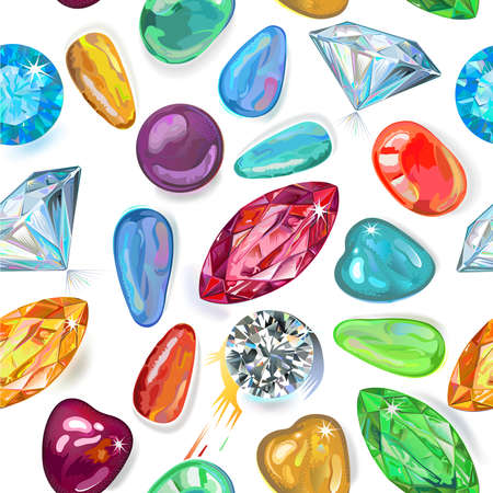 Seamless texture of colored gemstones isolated on white background. Vector Illustration, EPS8  Illustration