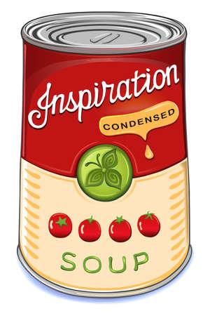 Blikje gecondenseerde tomatensoep Inspiration geïsoleerd op wit background.Created in Adobe Illustrator. Afbeelding bevat gradiënten, transparanten en gradiënt meshes.EPS 10. Vector Illustratie