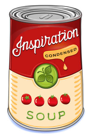 Can of condensed tomato soup Inspiration isolated on white background.Created in Adobe Illustrator. Image contains gradients, transparencies and gradient meshes.EPS 10. Vectores
