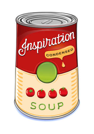 Can of condensed tomato soup Inspiration isolated on white background.Created in Adobe Illustrator. Image contains gradients and gradient meshes.EPS 8. Vettoriali