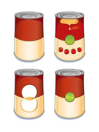 Template tin can tomato soup isolated on white background.Created in Adobe Illustrator. Image contains gradients and gradient meshes.EPS 8.