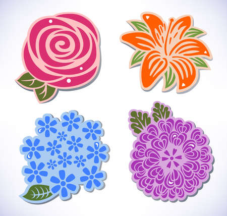 rose coloured: illustration of four flowers  rose, chrysanthemum, hydrangea, lily  isolated on background