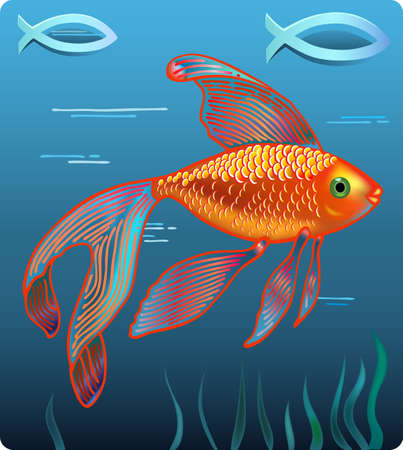 illustration of golden fish isolated on water background  Vector