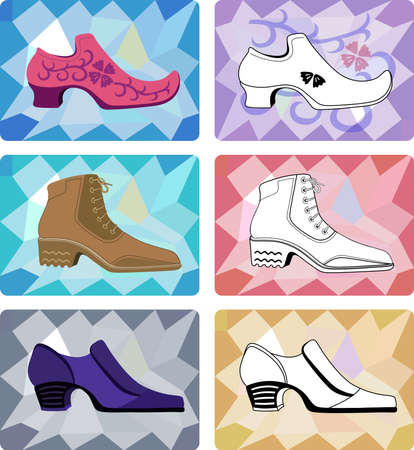 shoe repair: Six stylish man shoes isolated on faceted background.