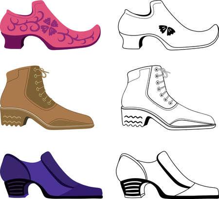shoe repair: Six stylish man shoes isolated on white background.