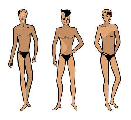 Full length front view of a standing naked man in underwear - illustration. Illustration