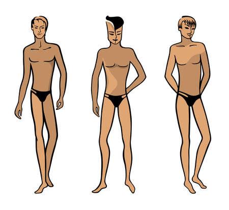 Vue de l'avant de la longueur d'un homme nu debout en sous-vêtements - illustration. Banque d'images - 21970706