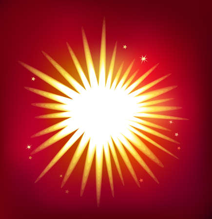 Shiny single star isolated on red background.      Vector