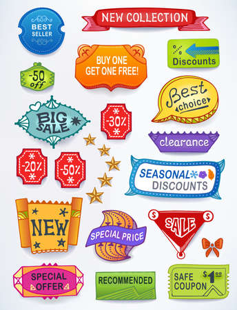 Multicolored set of promotional sales english text labels, signs, stickers. Created in Adobe Illustrator. Image contains gradients, blends and gradient meshes. EPS 8.  Vector