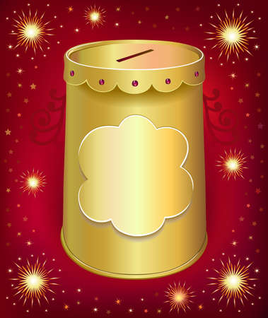 Universal blank holiday moneybox tin can  template isolated on red joy background. Created in  Illustrator. Image contains transparencies, gradient meshes and blends. EPS 10. Vector