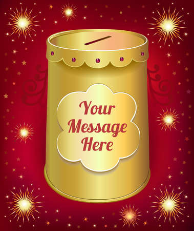 Text template moneybox tin can isolated on red joy background. Created in  Illustrator. Image contains transparencies, gradient meshes and blends. EPS 10. Vector
