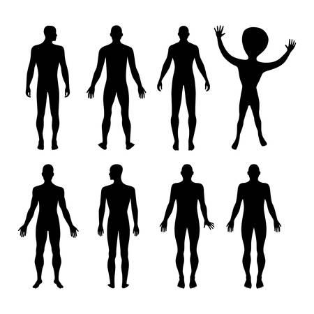 body outline: Set of full length front, back silhouette of man