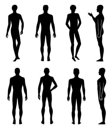 male model: Set of full length front, back silhouette of man