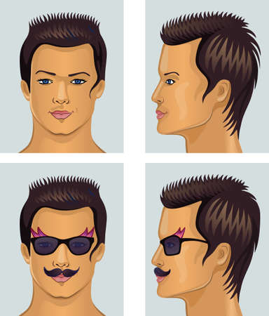side profile: Vector illustration of front, side man portrait isolated on grey background