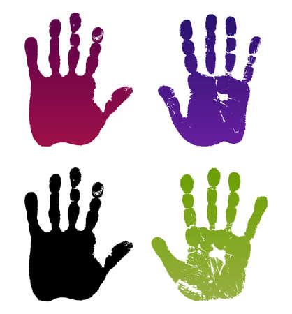 norm: ilustraci�n anciano cuatro huellas de las manos aisladas en blanco.